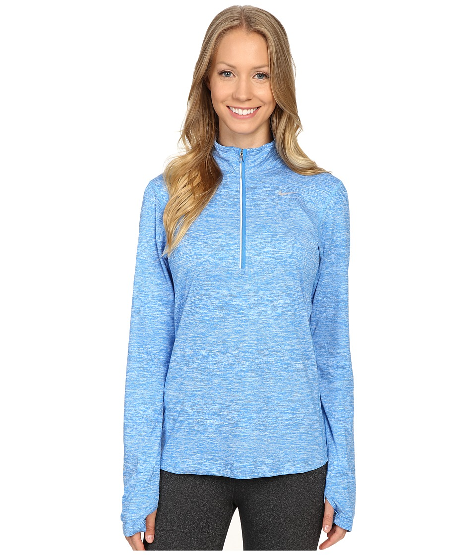 Nike - Dri-FIT Element Half Zip (Light Photo Blue/Heather/Reflective Silver) Women's Long Sleeve Pullover