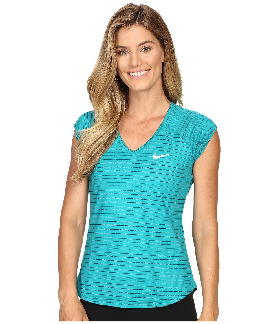 Nike - Pure Printed Top (Rio Teal/White) Women's Clothing