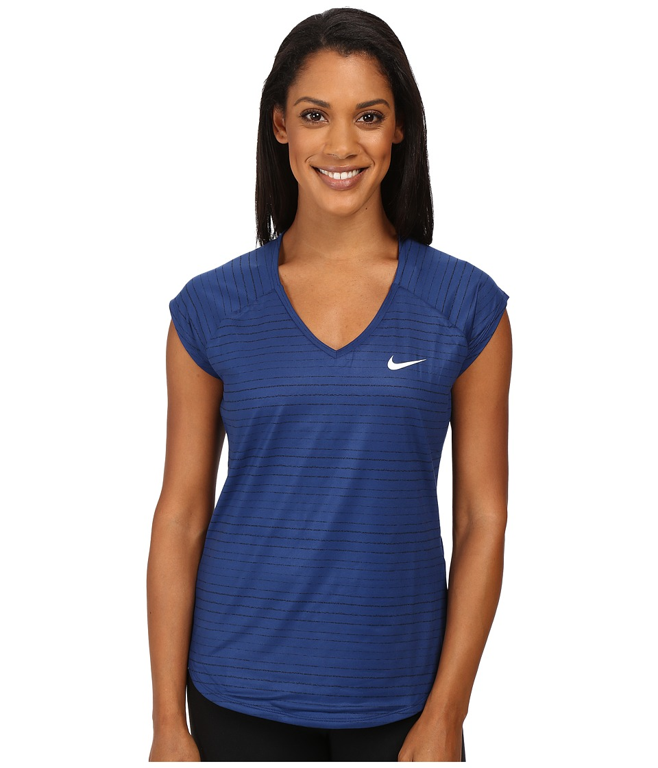 Nike - Pure Printed Top (Coastal Blue/White) Women's Clothing