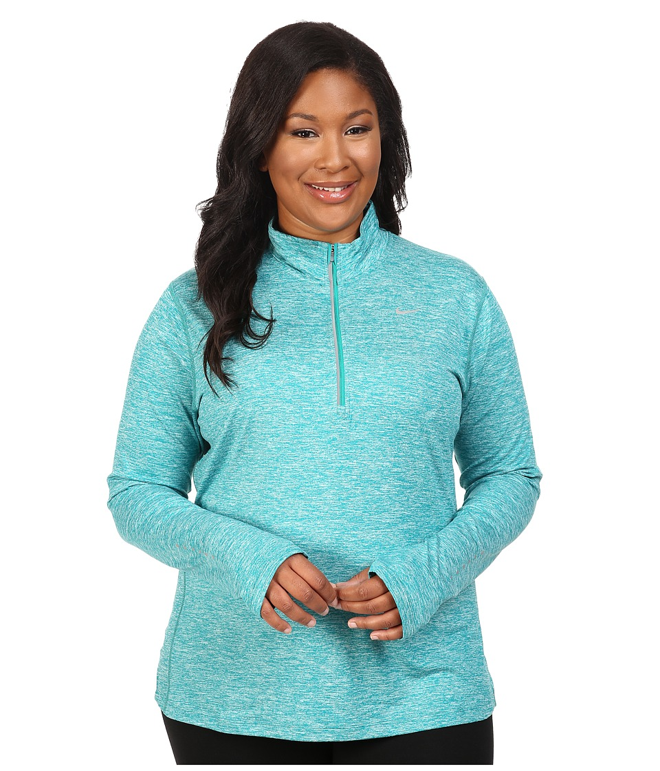 Nike - Dry Element 1/4 Zip Running Top (Size 1X-3X) (Teal Charge/Heather/Reflective Silver) Women's Long Sleeve Pullover