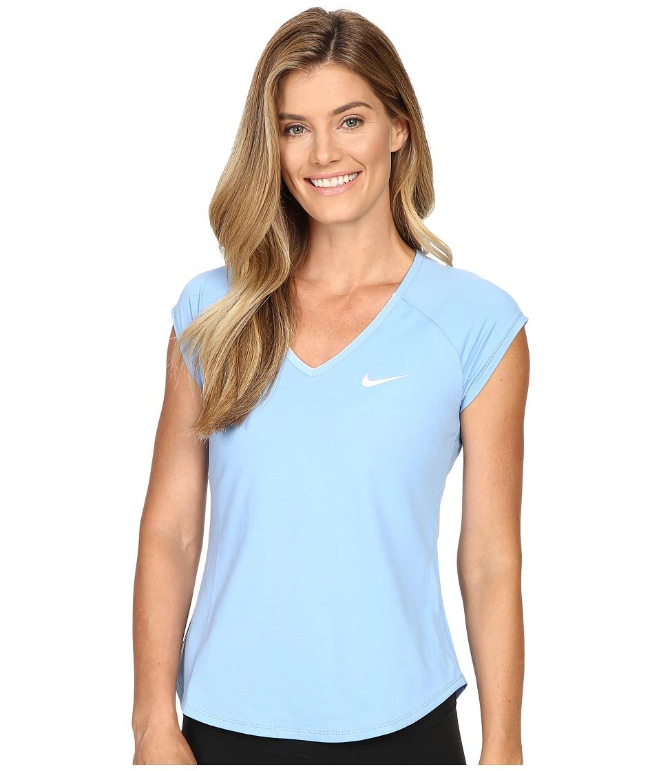 Nike - Court Pure Tennis Top (Light Blue/White/White) Women's Short Sleeve Pullover