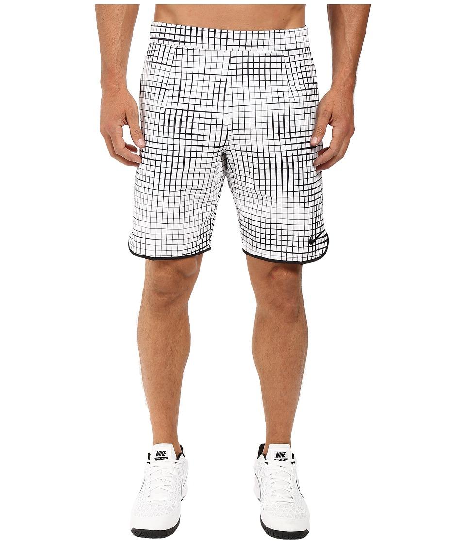 Nike - Court Gladiator 9 Tennis Short (White/Black/Black) Men's Shorts