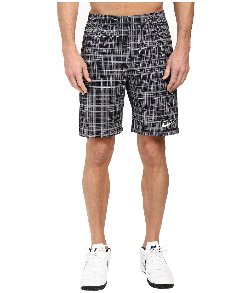 Nike - Court 9 Plaid Shorts (Black/Stealth/White) Men's Shorts