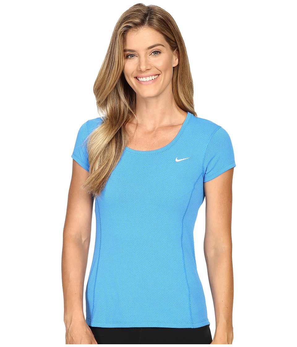 Nike - Dry Contour Running Tee (Light Photo Blue/Reflective Silver) Women's Short Sleeve Pullover