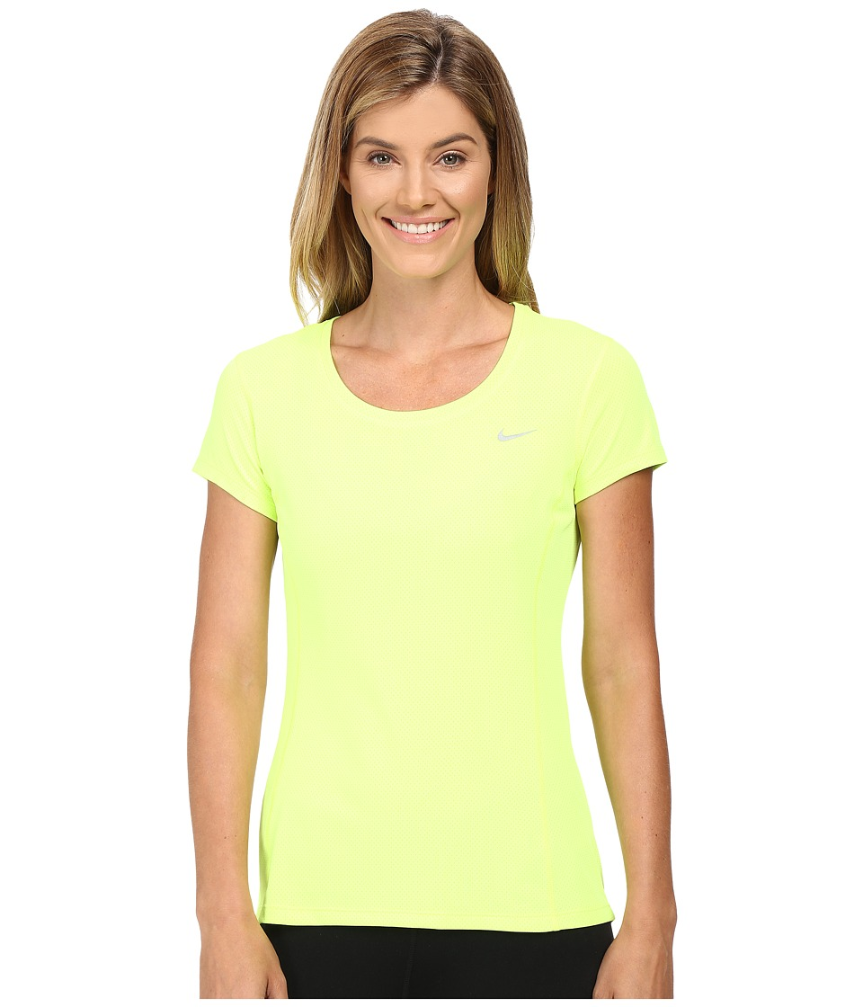 Nike - Dri-FIT Contour Short Sleeve (Volt/Reflective Silver) Women's Short Sleeve Pullover