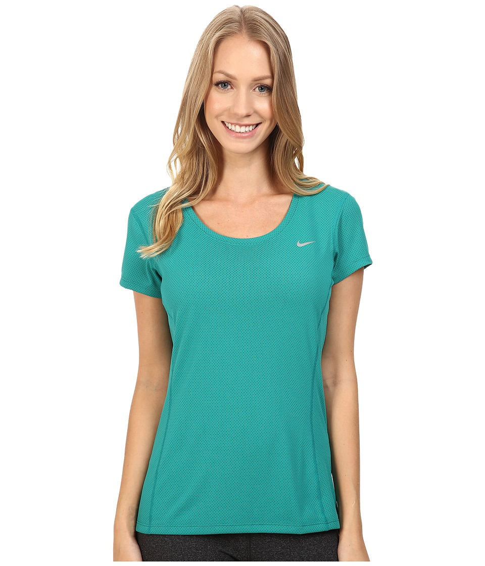 Nike - Dri-FIT Contour Short Sleeve (Rio Teal/Reflective Silver) Women's Short Sleeve Pullover