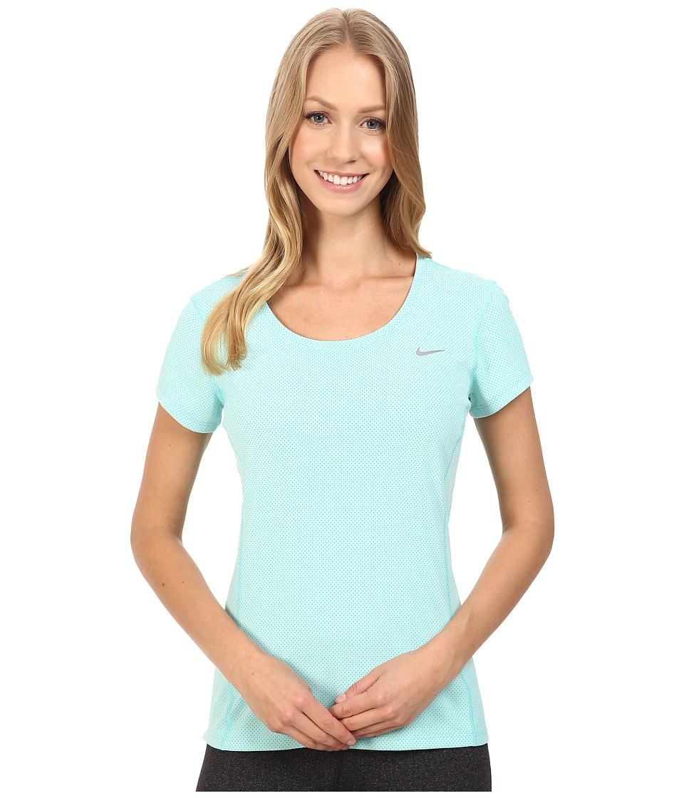 Nike - Dri-FIT Contour Short Sleeve (Hyper Turquoise/Reflective Silver) Women's Short Sleeve Pullover