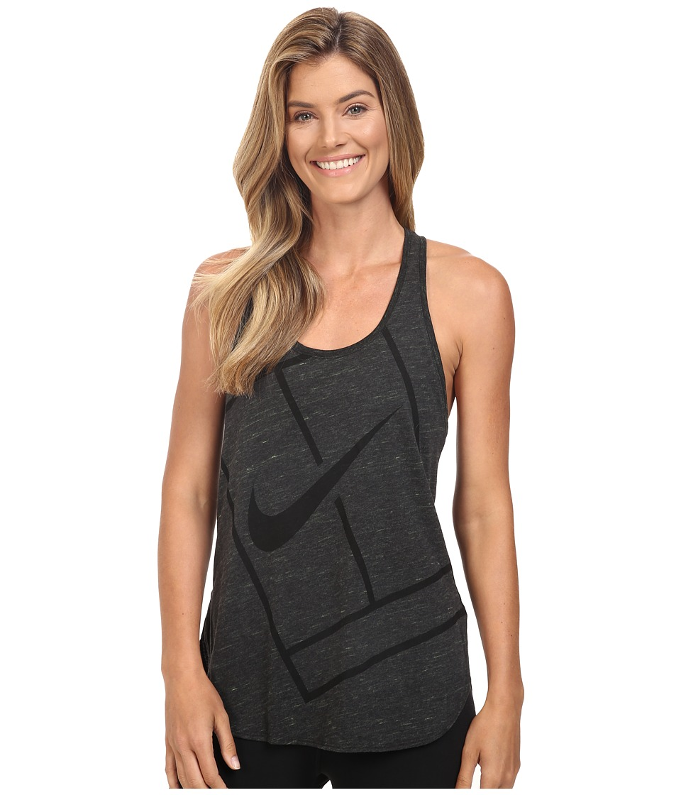 Nike - Court Baseline Tennis Tank Top (Black/Volt/Black) Women's Sleeveless