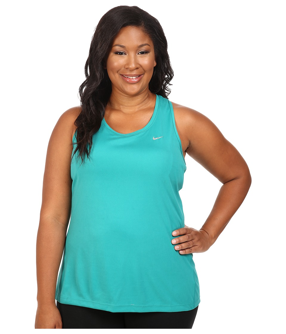Nike - Dry Miler Running Tank (Size 1X-3X) (Teal Charge) Women's Sleeveless