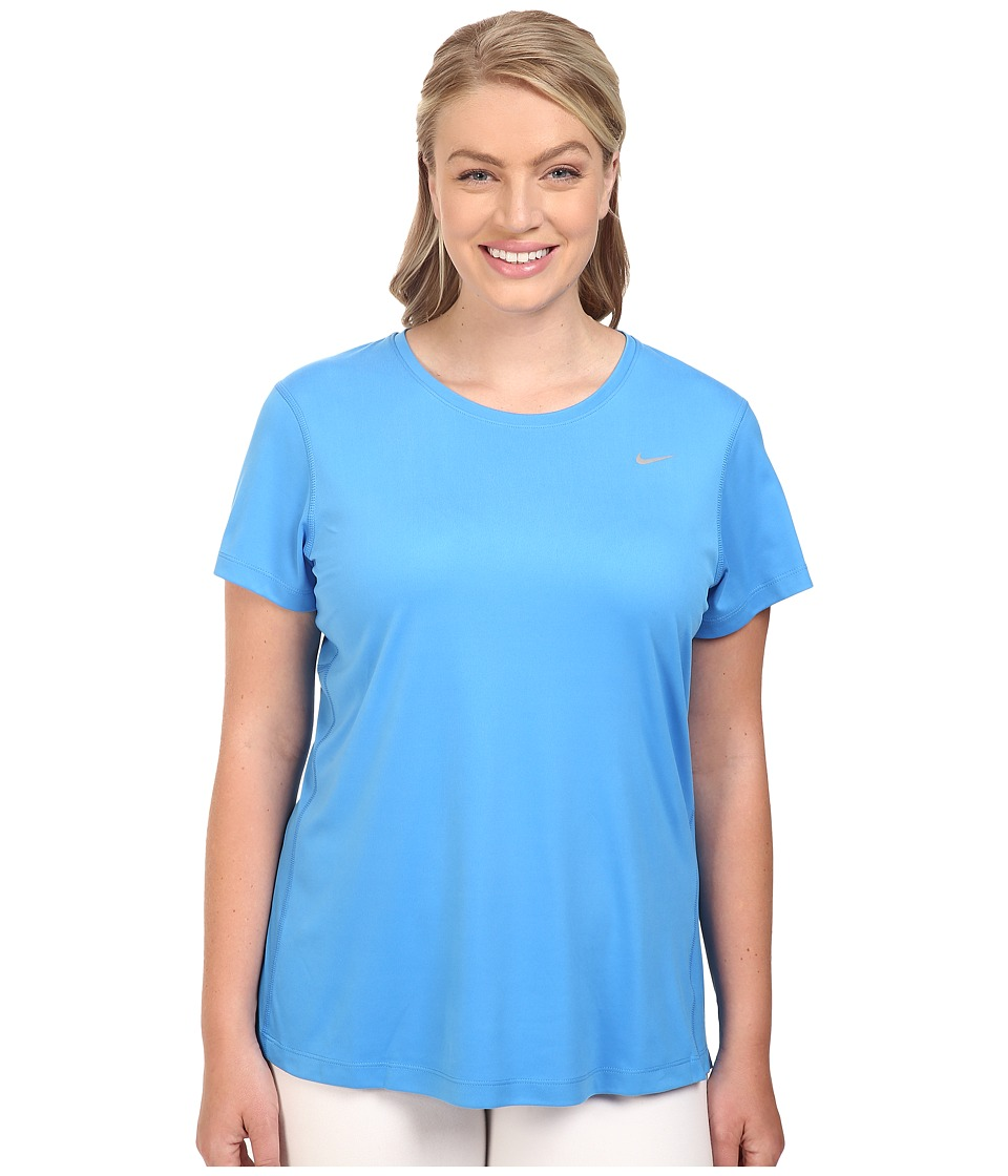 Nike - Miler Short-Sleeve Running Top (Size 1X-3X) (Light Photo Blue) Women's T Shirt