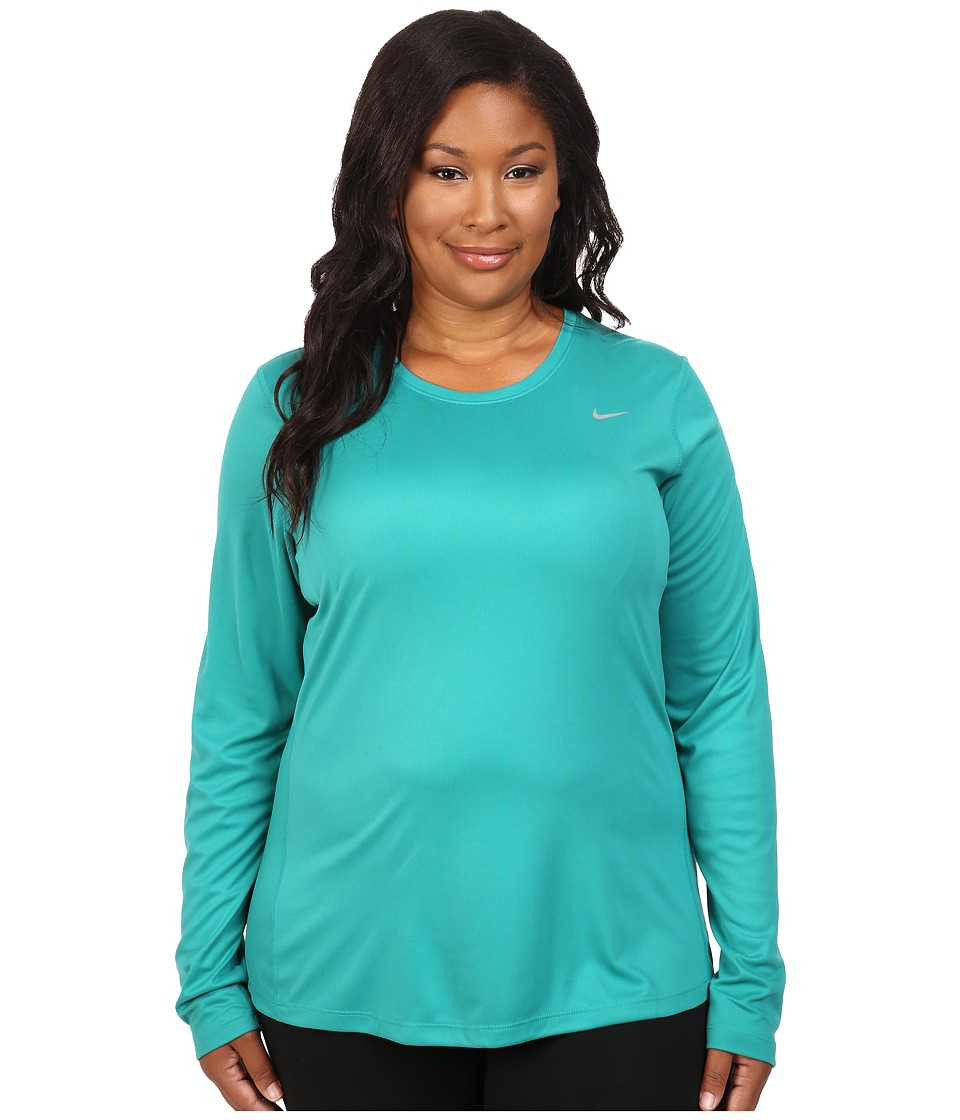Nike - Miler Long-Sleeve Running Top (Size 1X-3X) (Teal Charge/Reflective Silver) Women's Long Sleeve Pullover
