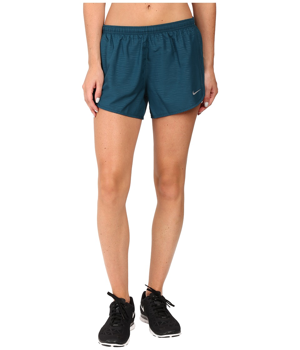 Nike - 3 Tempo Modern Embossed Running Short (Midnight Turquoise/Reflective Silver) Women's Shorts