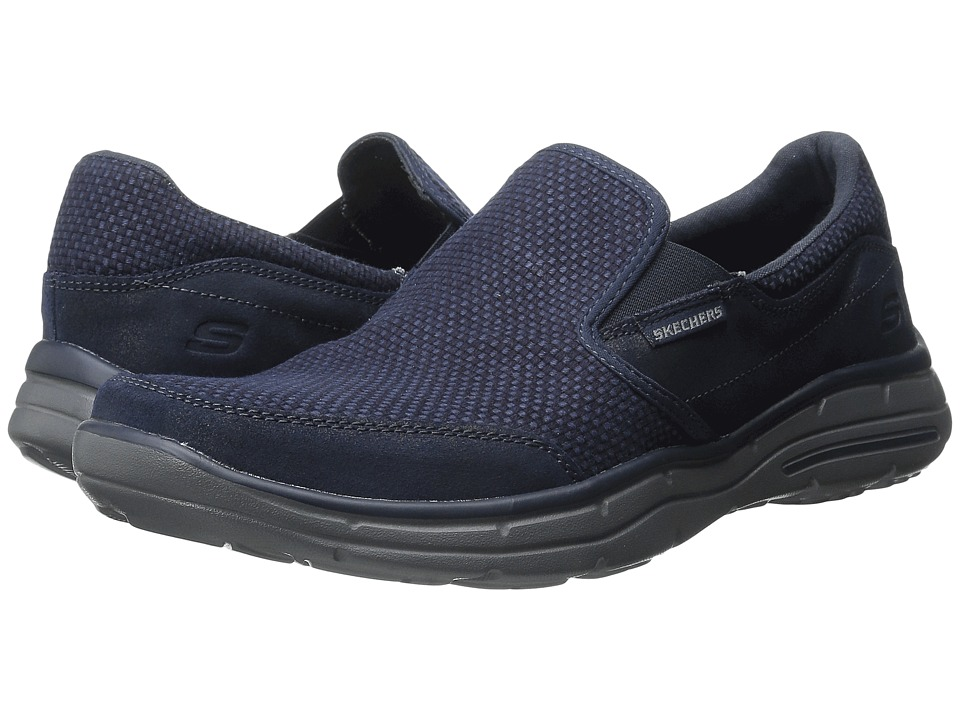 SKECHERS - Relaxed Fit Glides - Movito (Navy Canvas/Leather) Men's Shoes
