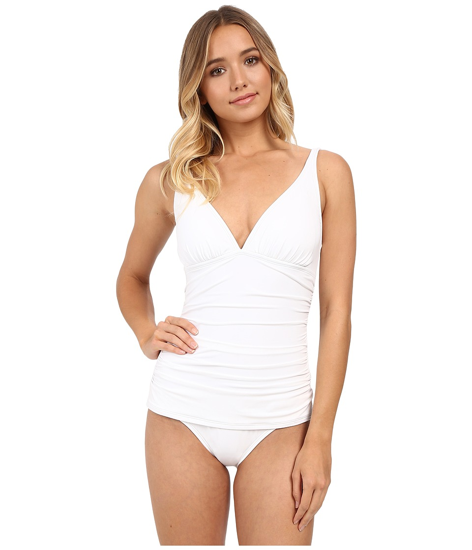 Tommy Bahama - Pearl Over Shoulder V-Neck Cup One-Piece (White) Women's Swimsuits One Piece