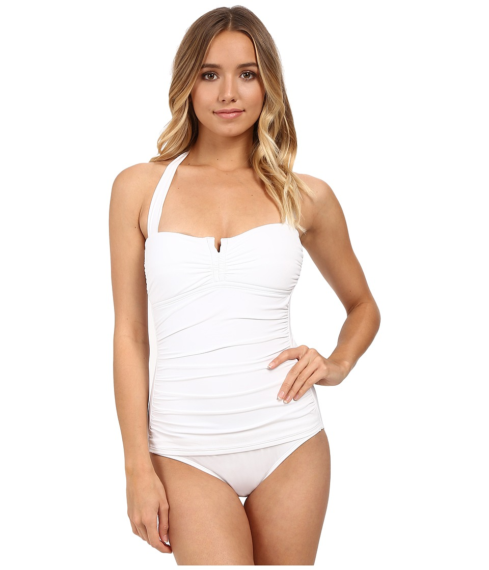 Tommy Bahama - Pearl V-Front Halter Cup One-Piece (White) Women's Swimsuits One Piece