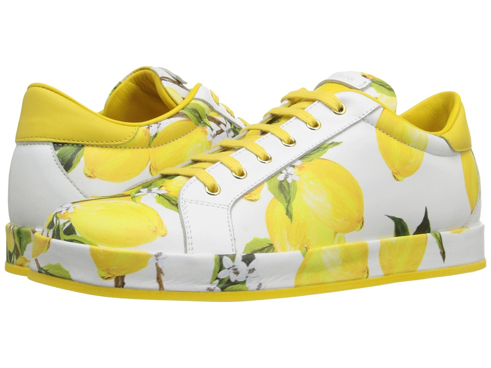 Dolce & Gabbana Kids - Lemon Print Sneaker (Big Kid) (Lemon/White) Girls Shoes