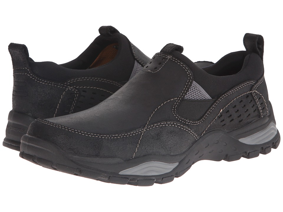 SKECHERS - Relaxed Fit Trexmen - Defiance (Black Leather) Men's Shoes