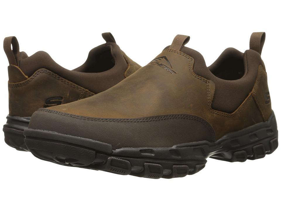 SKECHERS - Relaxed Fit Gander - Expectant (Dark Brown Leather) Men's Shoes