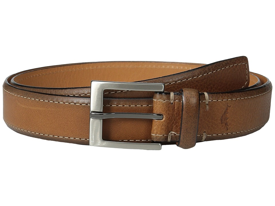 Tommy Bahama - Italian Leather w/ Contrast Stitch (Tan) Men's Belts