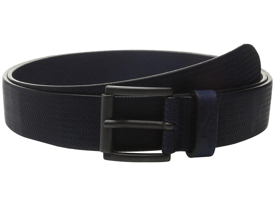 Tommy Bahama - Italian Leather Herringbone Embossed (Navy) Men's Belts