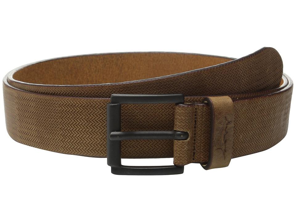 Tommy Bahama - Italian Leather Herringbone Embossed (Tan) Men's Belts
