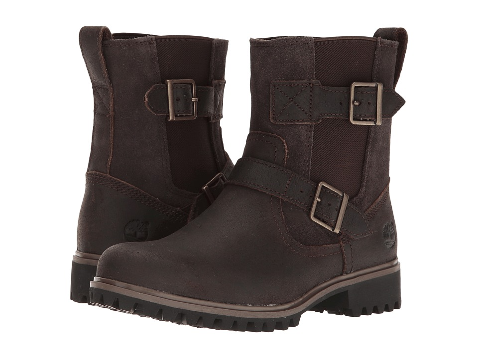 Timberland - Wheelwright Mid Pull-On Boot (Dark Brown Suede) Women's Boots