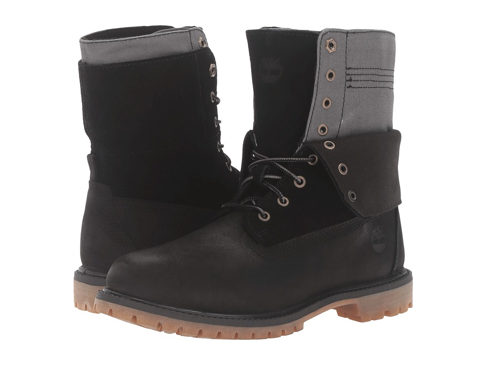 Timberland Authentics Double Fold-Down Boot (Black Nubuck) Women