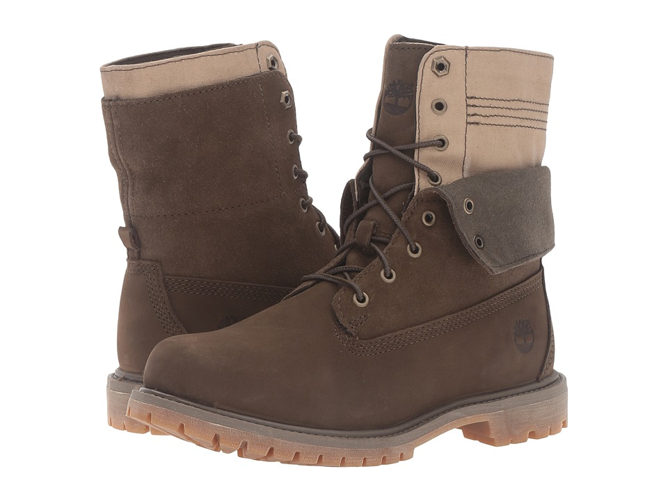 Timberland Authentics Double Fold-Down Boot (Olive Nubuck) Women