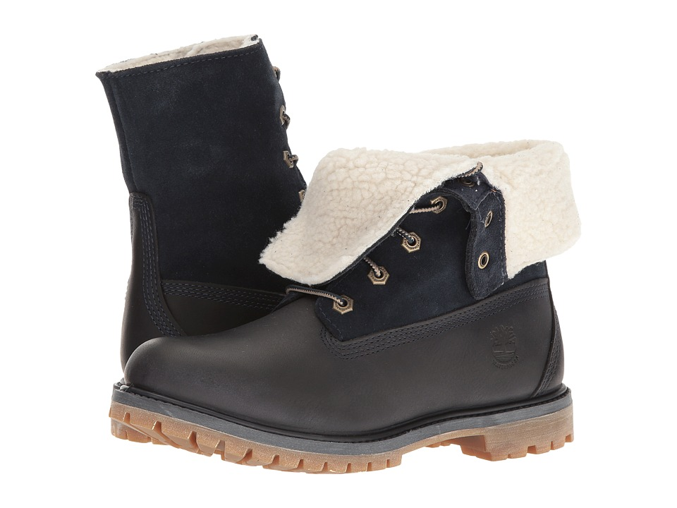 Timberland - Authentics Teddy Fleece Waterproof Fold-Down Boot (Black Iris) Women's Waterproof Boots