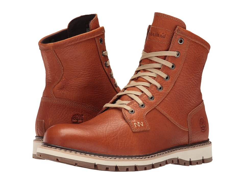 Timberland Britton Hill Waterproof Plain Toe Boot (Burnt Orange Full Grain) Men