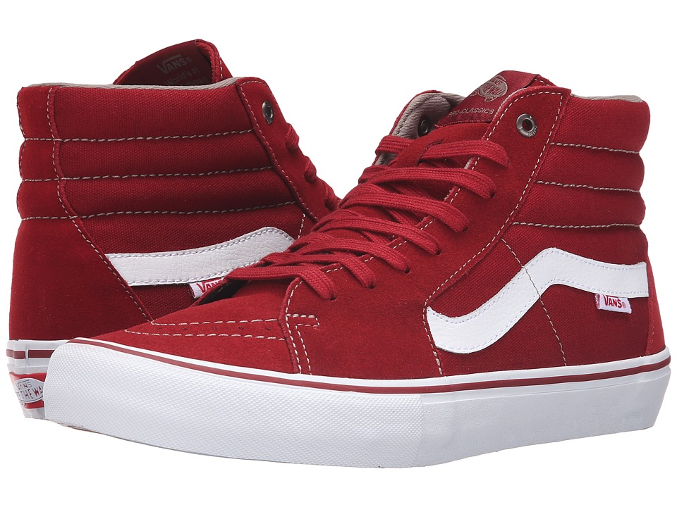 Vans - SK8-Hi Pro (Red Dahlia/White) Men's Skate Shoes
