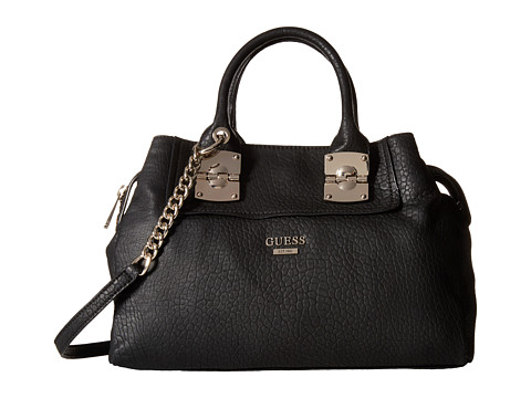 GUESS - Frankee Girlfriend Satchel (Black) Satchel Handbags