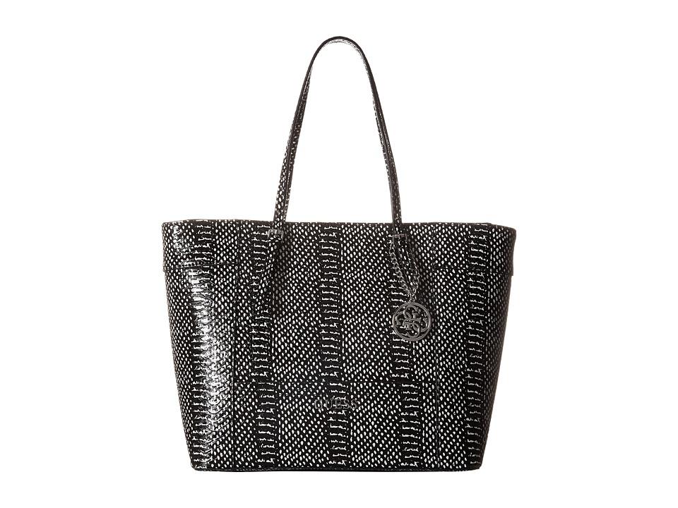 GUESS - Delaney Medium Classic Tote (Black Multi) Tote Handbags