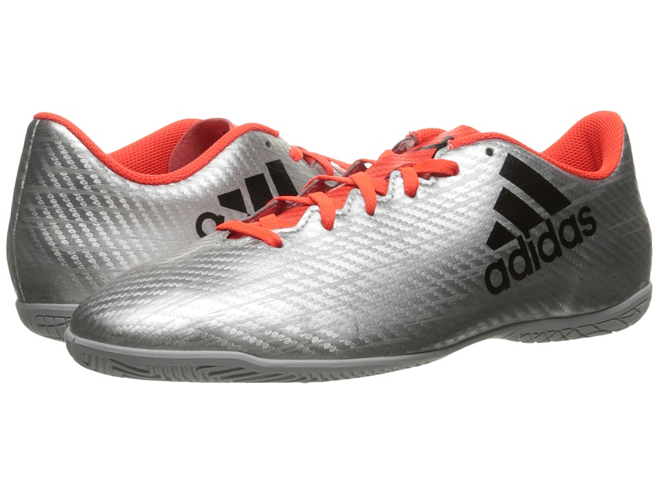 adidas - X 16.4 IN (Silver Metallic/Black/Solar Red) Men's Soccer Shoes