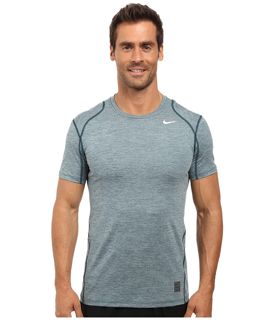 Nike - Pro Cool Fitted Heather Top (Midnight Turquoise/Midnight Turquoise/White) Men's Clothing