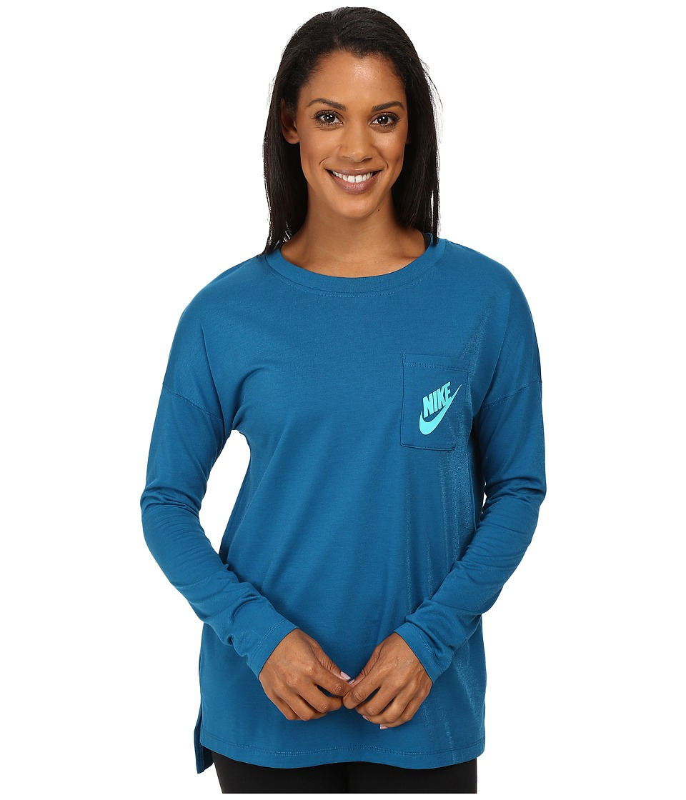 Nike - Signals Long Sleeve Tee (Green Abyss/Hyper Jade) Women's Long Sleeve Pullover