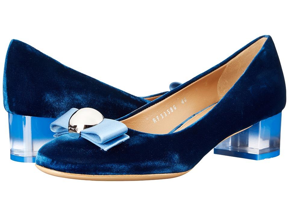Salvatore Ferragamo - Fiammetta (Bleu Indien Velvet/Bleu Indien Satin) High Heels
