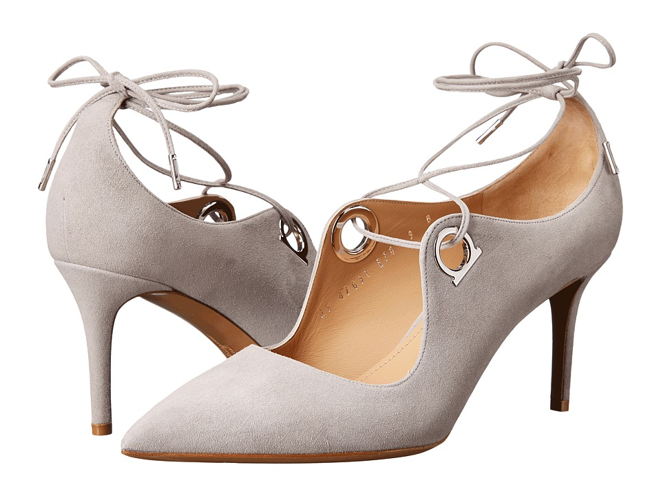 Salvatore Ferragamo Suede Lace Up Mid-Heel Pump (Gris Suede) High Heels