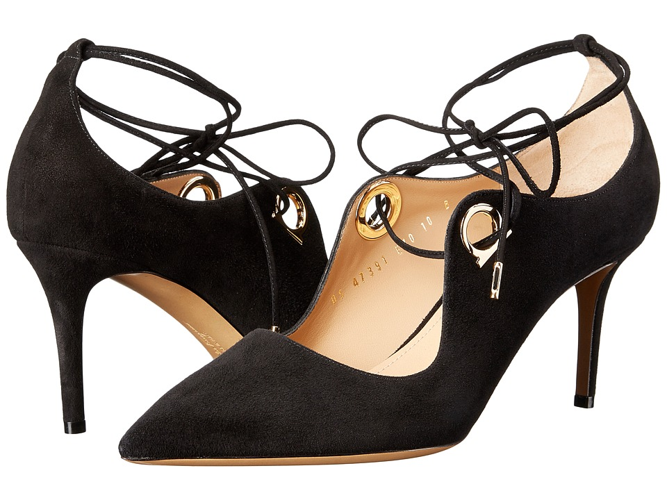 Salvatore Ferragamo Suede Lace Up Mid-Heel Pump (Nero Suede) High Heels