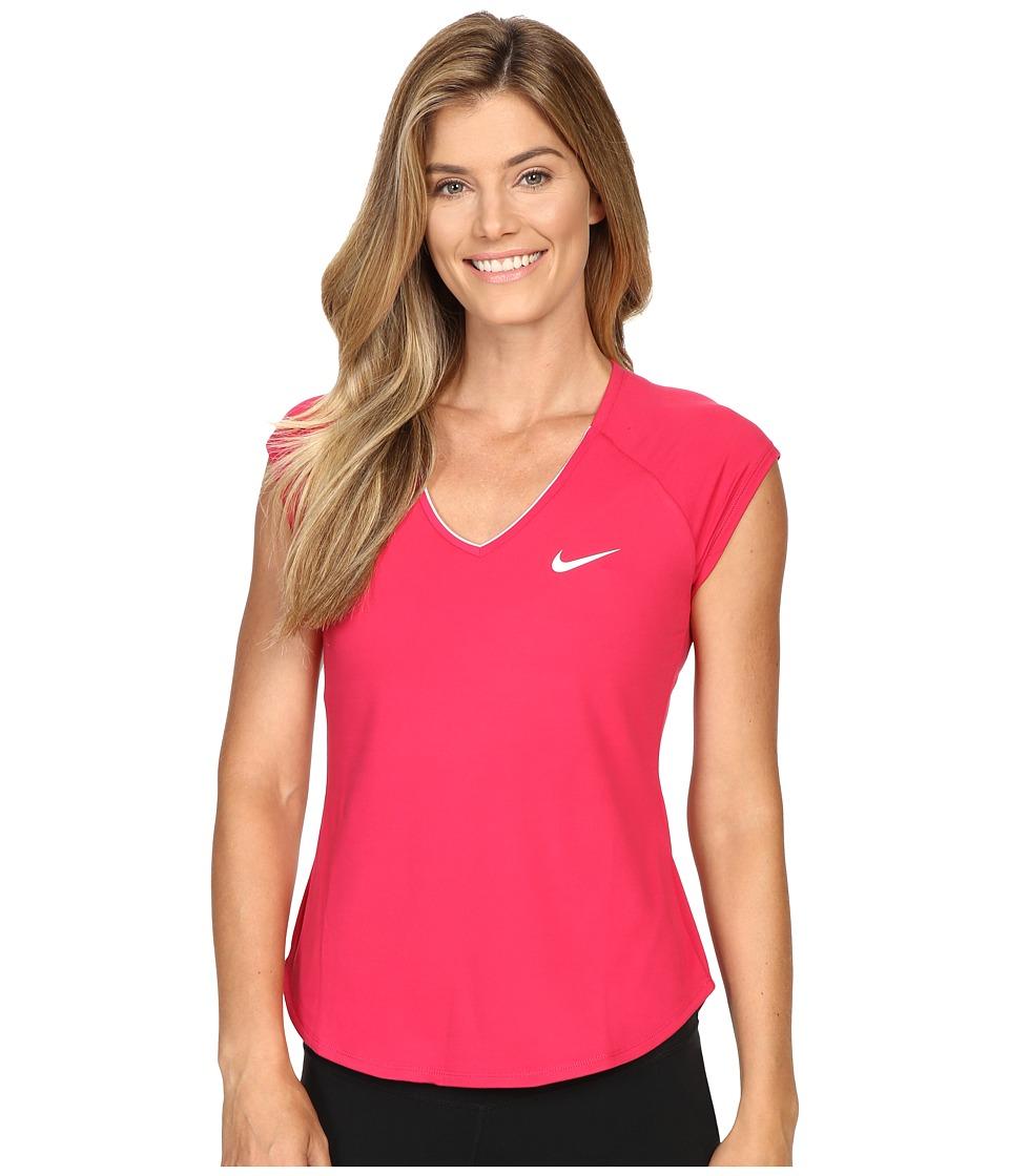 Nike - Court Pure Tennis Top (Fuchsia Flux/White/White) Women's Short Sleeve Pullover