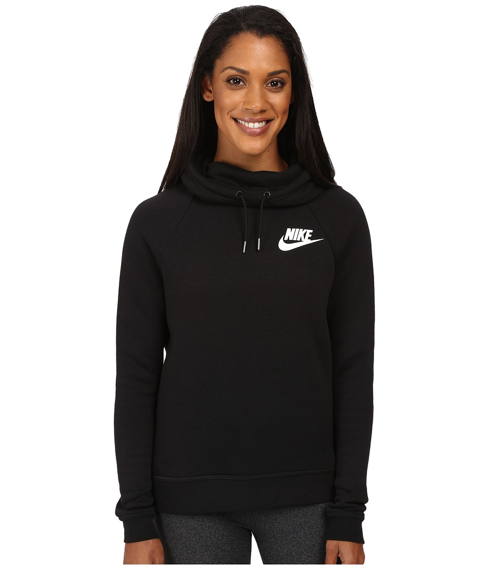 Nike - Rally Pullover Hoodie (Black/Black/Antique Silver/White) Women's Sweatshirt