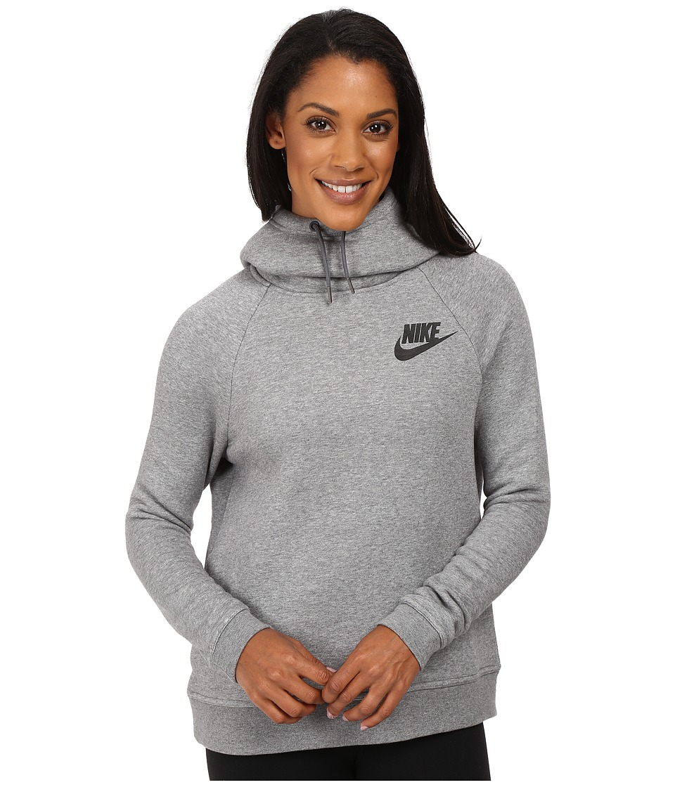 Nike - Rally Pullover Hoodie (Carbon Heather/Dark Grey/Black) Women's Sweatshirt