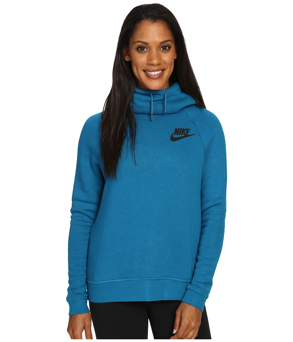Nike - Rally Pullover Hoodie (Green Abyss/Green Abyss/Black) Women's Sweatshirt