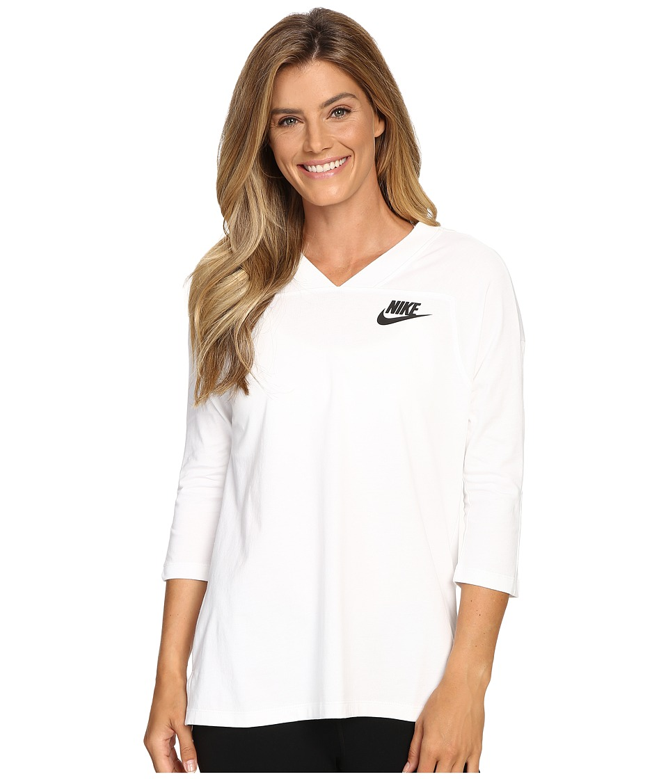 Nike - Sportswear 3/4 Sleeve Shirt (White/Black) Women's Clothing