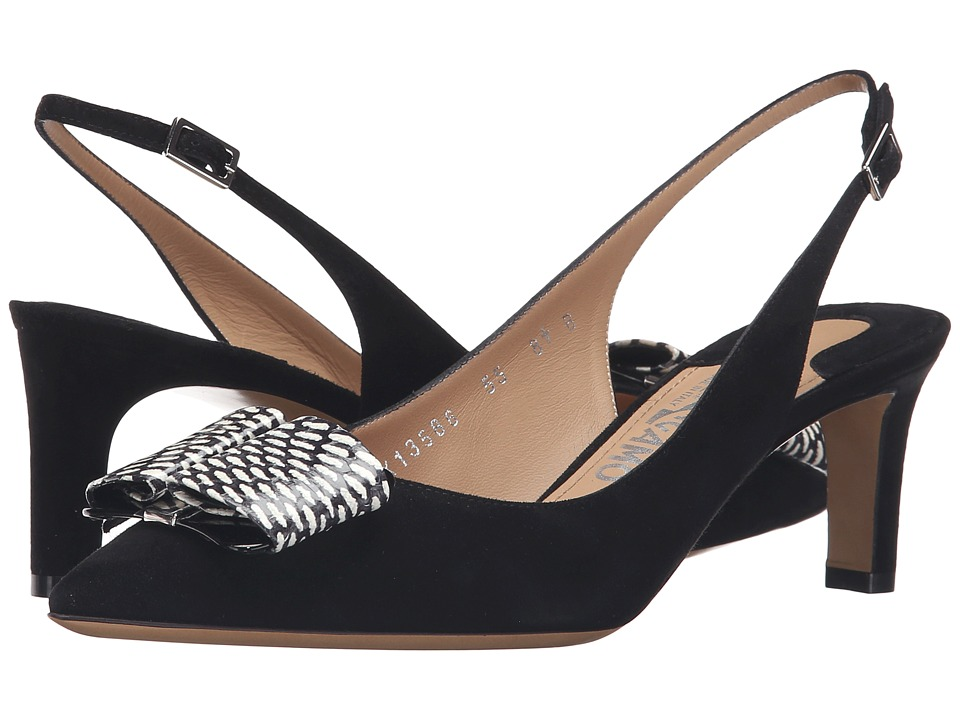 Salvatore Ferragamo Suede Slingback Low Heel With Watersnake Bow (Nero Suede/Nero/Bianco Cobra Skin) High Heels