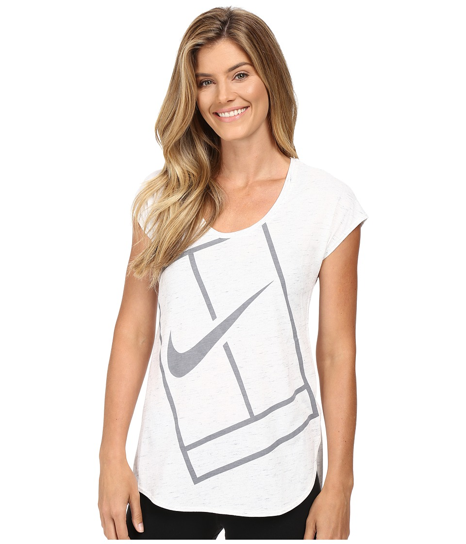 Nike - Court Baseline Tennis Shirt (White/Stealth/Stealth) Women's Clothing
