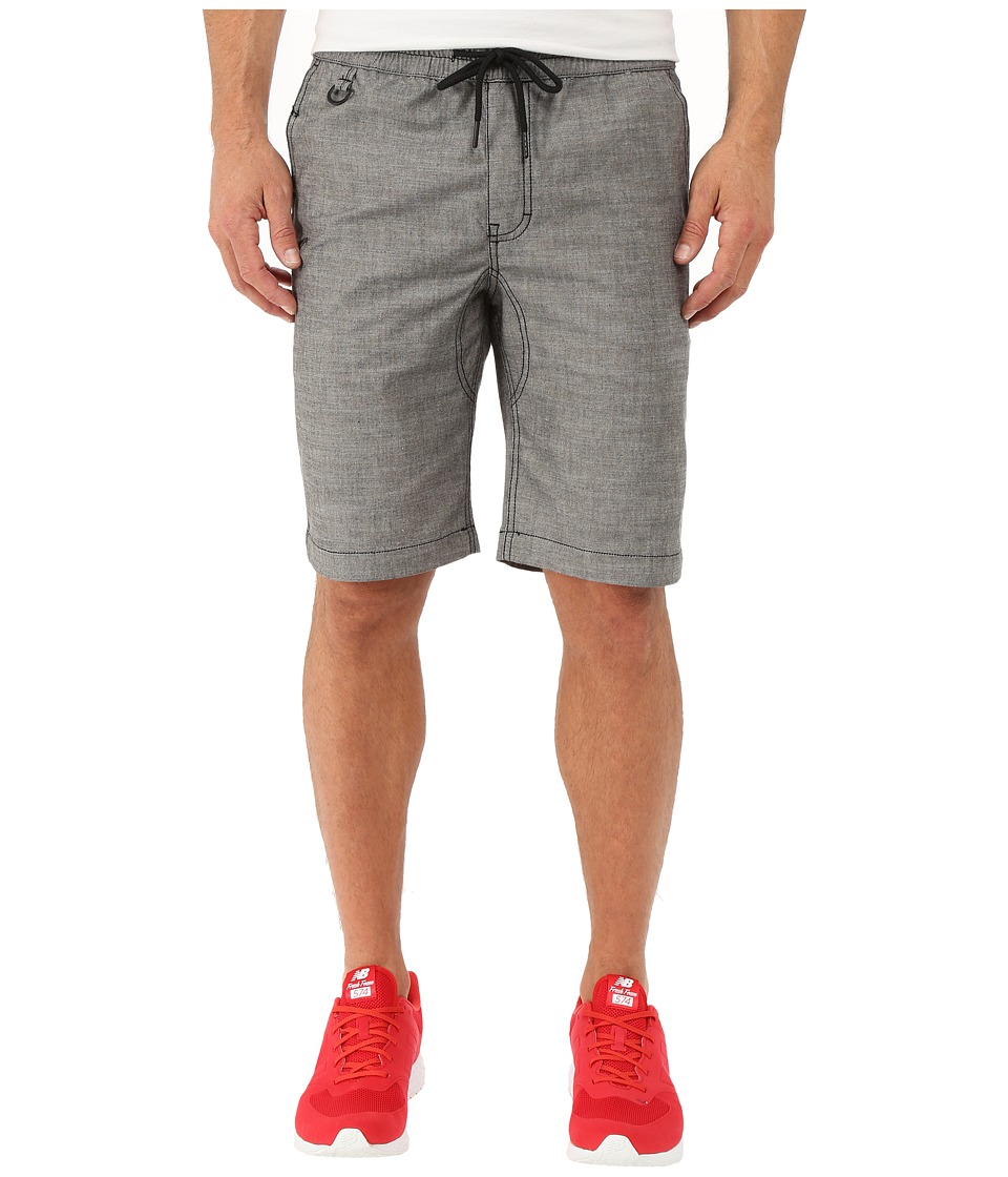 Publish - Saar - Stretch Chambray On Elastic Waistband Shorts (Charcoal) Men's Shorts
