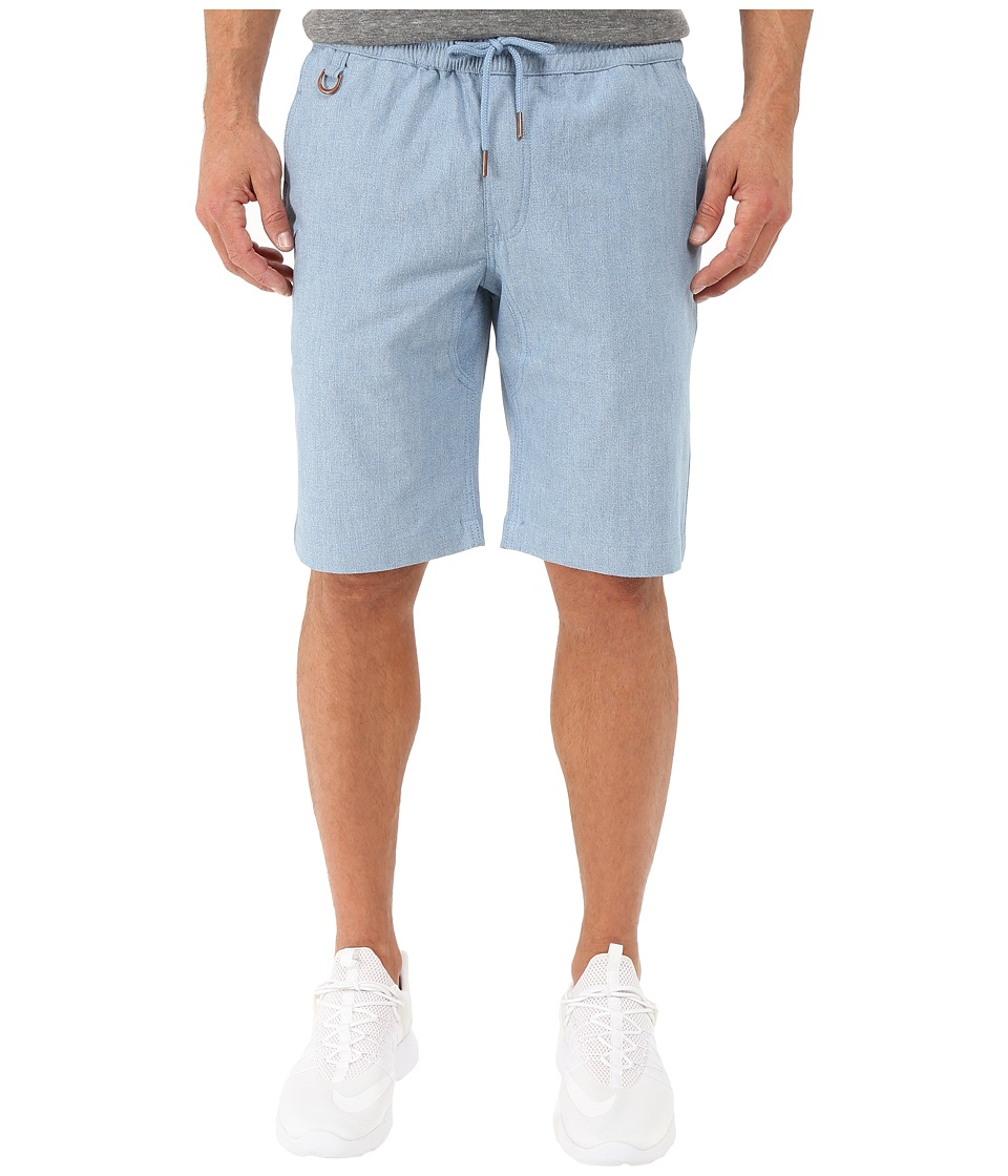 Publish - Saar - Stretch Chambray On Elastic Waistband Shorts (Light Blue) Men's Shorts