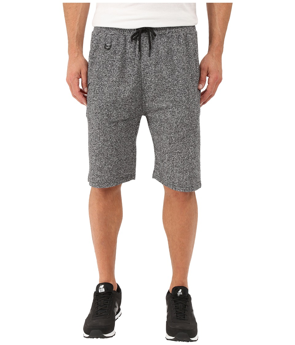 Publish - Kieran - Two-Tone Heathered Terry Elastic Drawstring Shorts (Black) Men's Shorts