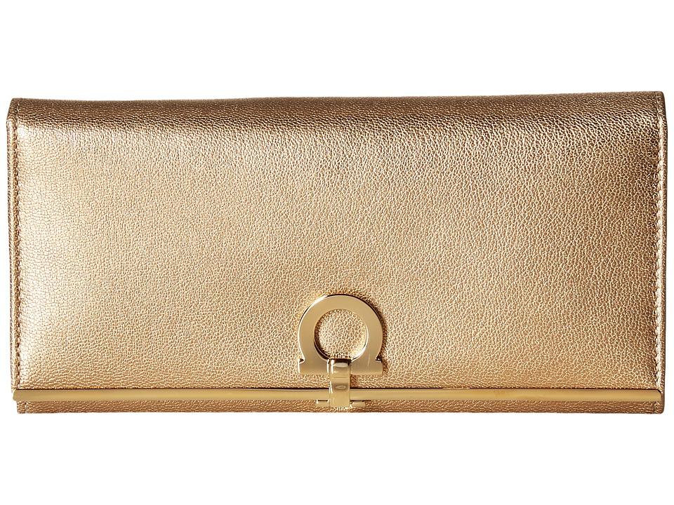 Salvatore Ferragamo - 22C355 Gancini Continental Wallet (Pirite (Zaniah)/Nero) Wallet Handbags